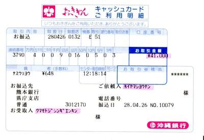 熊本地震災害義援金についてのご報告